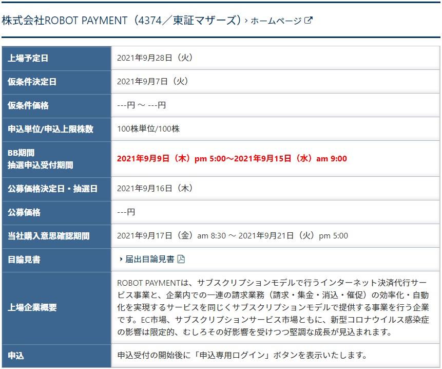 ROBOT PAYMENT(4374)IPOSBIネオトレード証券