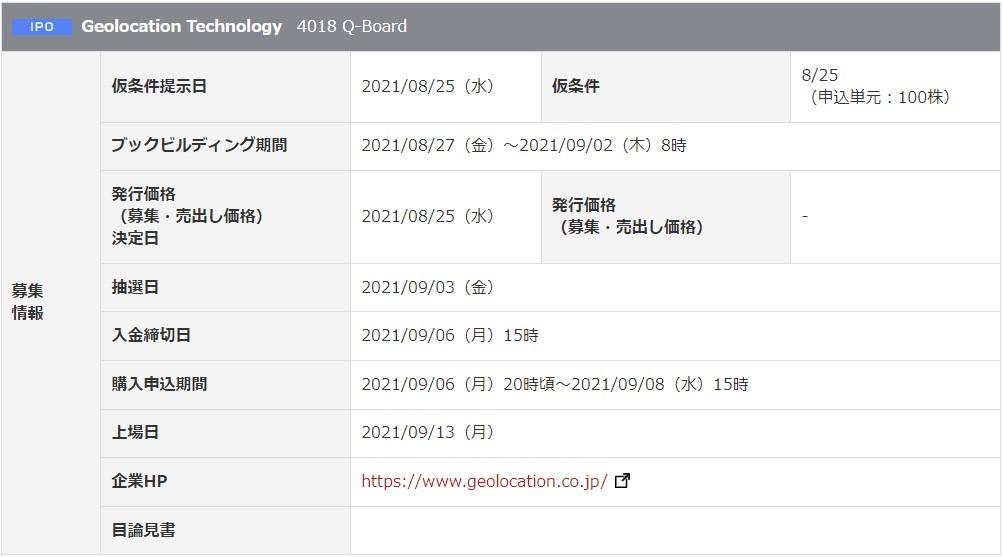 Geolocation Technology(4018)IPO岡三オンライン証券