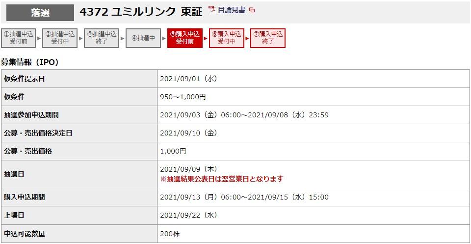 ユミルリンク(4372)IPO落選野村證券