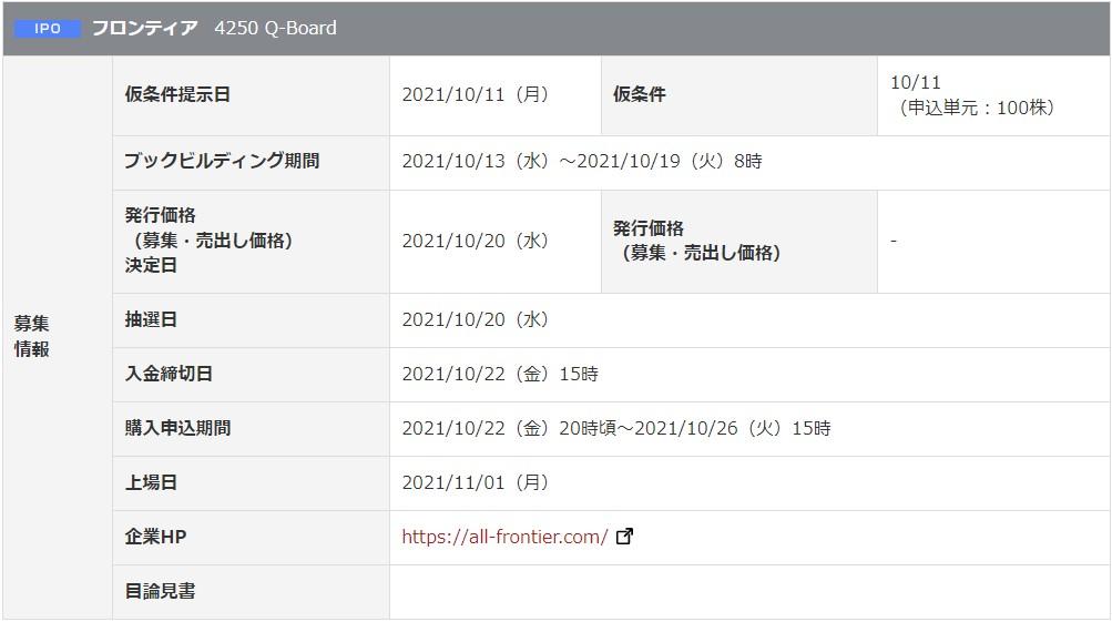 フロンティア(4250)IPO岡三オンライン証券