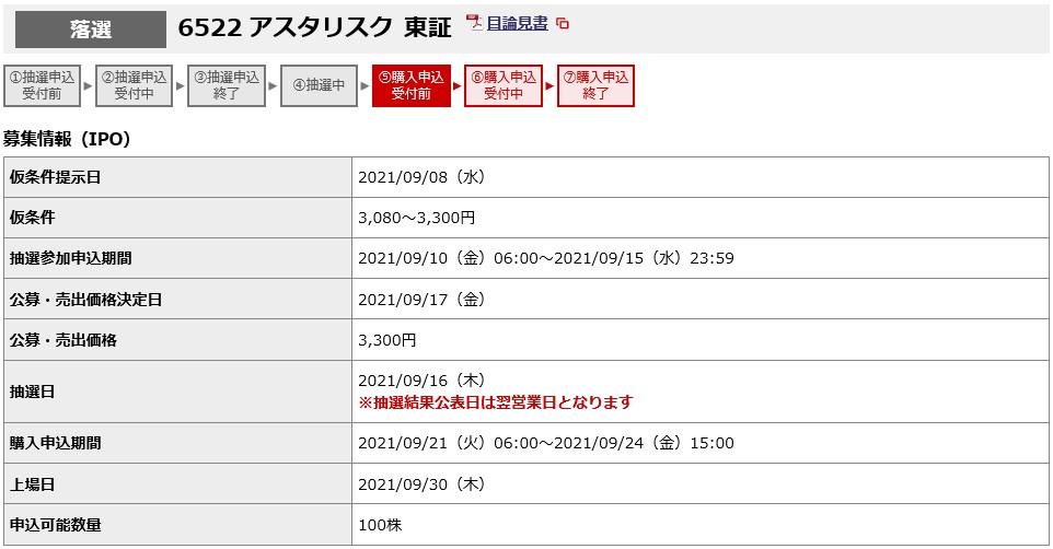 アスタリスク(6522)IPO落選野村證券