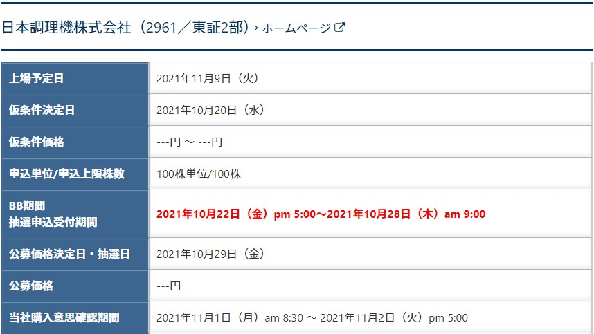 日本調理機(2961)IPOSBIネオトレード証券