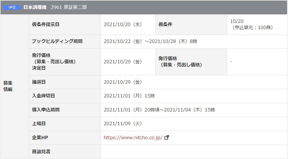 日本調理機(2961)IPO岡三オンライン証券